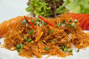Stir fried rice crispy noodles yummy