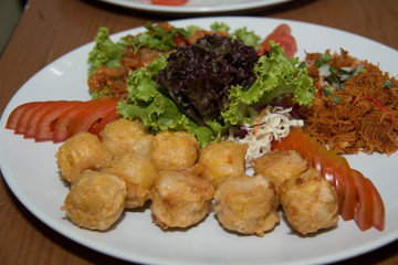 Dish with vegetables and appetizers food