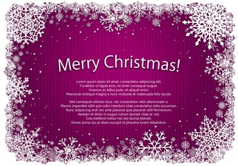 Pink Christmas background with frame of snowflakes