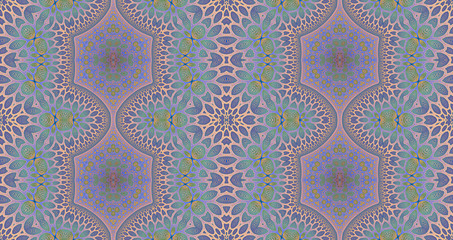 Abstract fractal high resolution seamless pattern background ideal for carpets, tapestries, fabric and wallpapers with a detailed abstract flower pattern in a grid