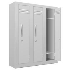 School lockers. With the white door open