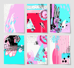 set of 6 modern abstract digital contemporary painting in trendy