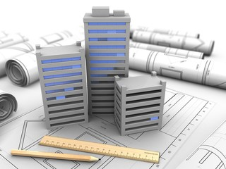 3d illustration of city over drawings background with drawing tools