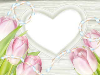 Pink fresh spring flowers background. EPS 10