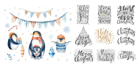 Merry christmas lettering over with snowflakes and penguins. Han