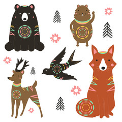 Vector illustration set with animals - bear, fox, deer, hamster, swallow. Tribal forest collection