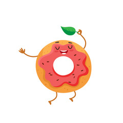 Funny donut character with pink glazing and chocolate sprinkles, cartoon style vector illustration isolated on white background. Cute smiley freshly donut character with eyes and legs