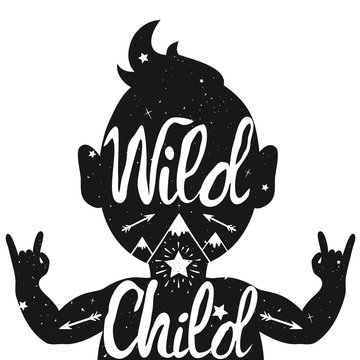Wild Child. Illustration with baby silhouette with text, arrows and mountains.