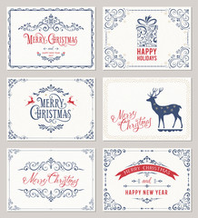 Ornate horizontal winter holidays greeting cards on the texture backgrounds. Vector illustration.