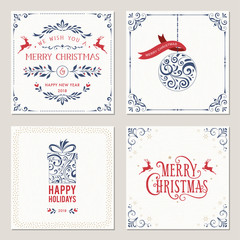 Ornate square winter holidays greeting cards with typographic design, Christmas ball, gift box and deers. Vector illustration.
