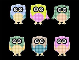 set of cute textile owls