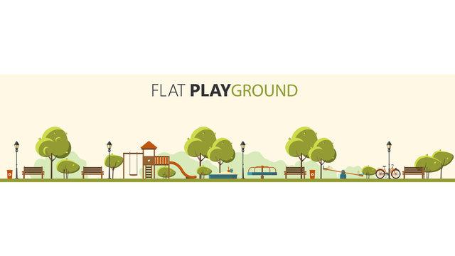 Public park. Vector Flat illustration. Easy to make pattern.