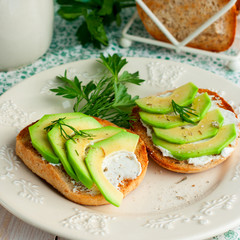 Toast with cream cheese and avocado