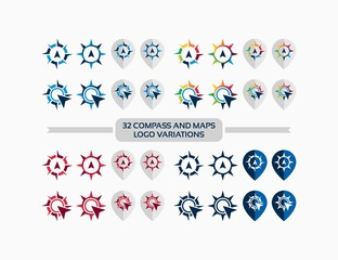32 set Compass and maps Logo Icon vector illustration