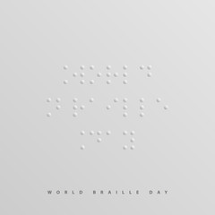 World Braille Day sign, message written in Braille alphabet. Vector graphics.