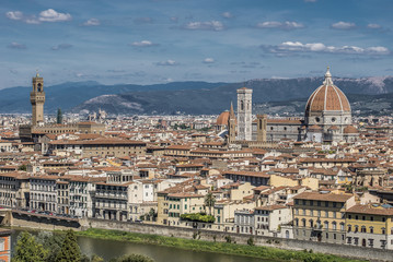 Florence, Italy- August 12, 2016: Cityscape of the city of Florence with the Tower of Palazzo Vecchio and Church Santa Maria del Fiore in Florence, Italy