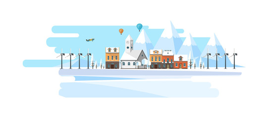 Winter Abstract Landscape Background. Flat Vector Illustration.