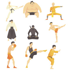 Martial Arts Fighters Performing Different Technique Kicks Set Of Asian Fighting Sports Professional In Traditional Fighting Outfits Sportive Clothing