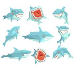 Great White Shark Marine Fish Living In Warm Sea Waters Realistic Cartoon Character Vector Set Of Different Views Illustrations