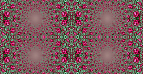 Abstract fractal high resolution seamless pattern background ideal for carpets, tapestries, fabric and wallpapers with a detailed repeating geometric flower like   pattern in vivid colors