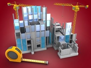 3d illustration of building construction over red background with two cranes