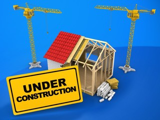 3d illustration of frame house construction over blue background with two cranes