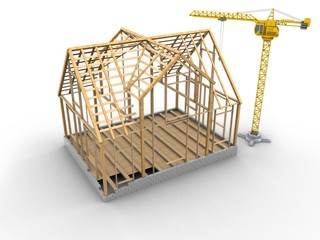 3d illustration of crane over white background with wooden house frame