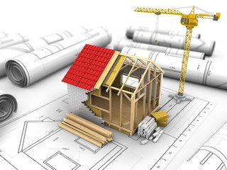 3d illustration of crane over drawings background with frame house construction