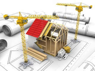 3d illustration of frame house construction over drawings background with crane