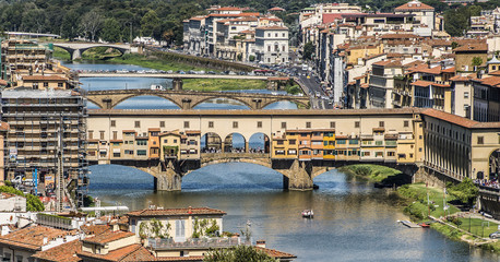 Florence, Italy- August 12, 2016: Cityscape of the city of Florence with the Ponte Vecchio overlooking the Arno River in Florence, Italy