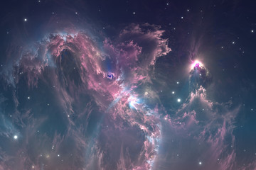 Space background with nebula and stars. Glowing nebula is the remnant of a supernova explosion, illustration