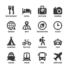 Travel flat symbols. Black