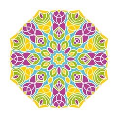 Kaleidoscope big bud. Oriental pattern illustration. Flower background
