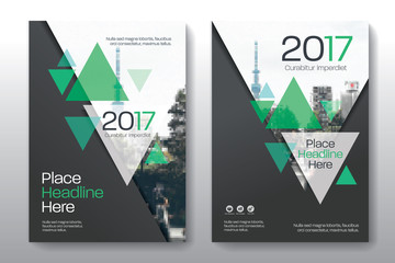 Green Color Scheme with City Background Business Book Cover Design Template in A4. Easy to adapt to Brochure, Annual Report, Magazine, Poster, Corporate Presentation, Portfolio, Flyer, Banner, Website