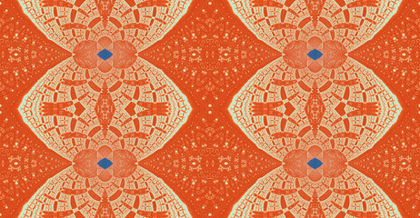 Abstract fractal high resolution seamless pattern background ideal for carpets, tapestries, fabric and wallpapers with a detailed interconnected chain like decorated pattern