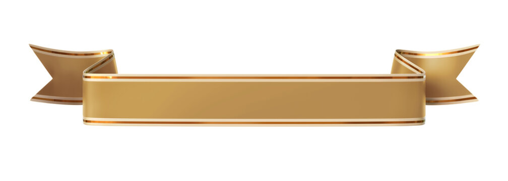 Curled golden ribbon banner with gold border - straight and wavy ends