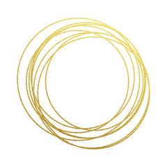 Golden circles abstraction of gold foil and glitter