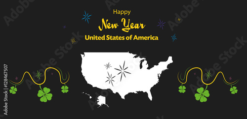 happy new year illustration theme with map of the usa