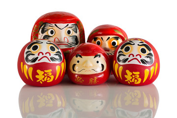 Daruma family, lucky doll Good luck new year of japanese