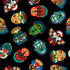 Ethnic colorful mask pattern on black background. Vector illustration