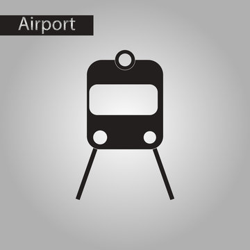 black and white style icon train airport