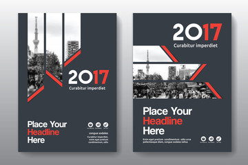 Red Color Scheme with City Background Business Book Cover Design Template in A4. Can be adapt to Brochure, Annual Report, Magazine,Poster, Corporate Presentation, Portfolio, Flyer, Banner, Website.