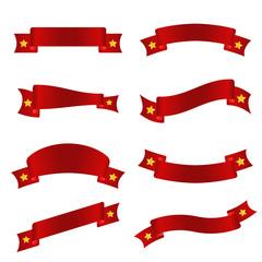 Gold star on red ribbon  vector set design