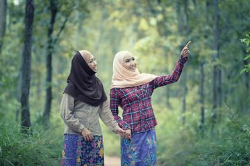 Portrait young muslim women wear traditional thai