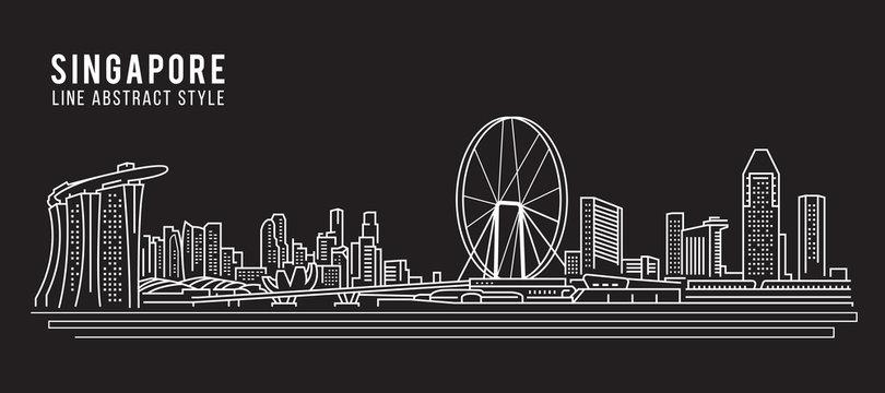 Cityscape Building Line art Vector Illustration design - Singapore city