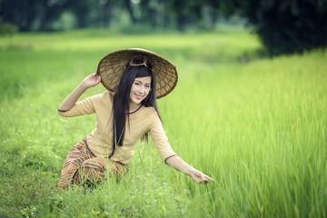 portrait of asian women girl traditional dress wear hat style Vi