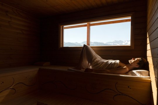 relaxing in a spa of the Italian alps, Carnia, Italy