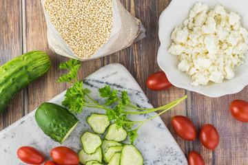 Ingredients for quinoa mediterranean salad.