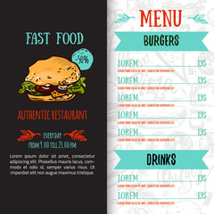 Fast food menu design template with hand-drawn vector illustration. Cover of restaurant menu with burger, pizza, hot dog with seamless pattern.