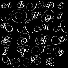 Set of vector greek calligraphic alphabet letters isolated on black background